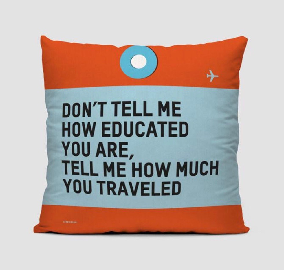 25 travel quotes inspired gifts for the travel lover in your life featured by top international travel blogger, Tracy's Travels in Time: CUSHION