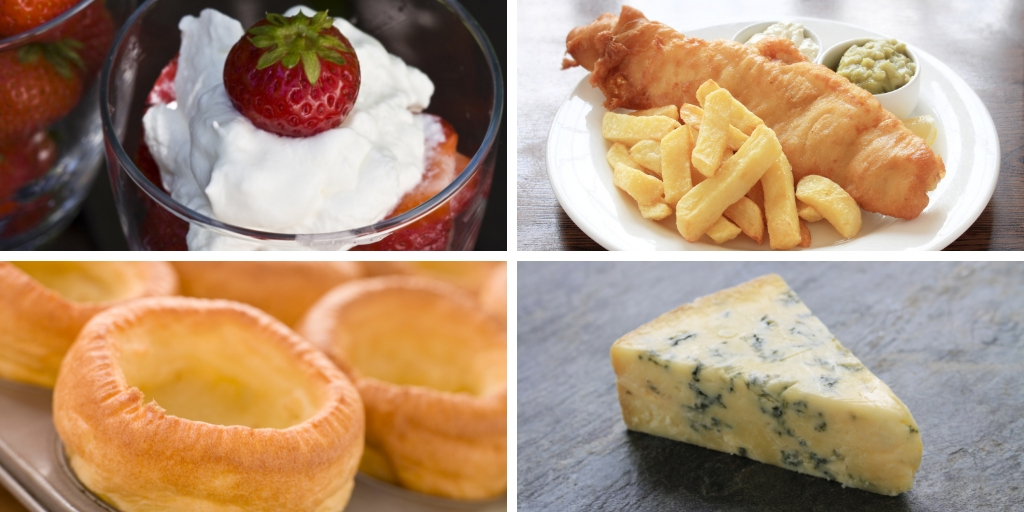 english food - yorkshire pudding cheese strawberries fish and chips