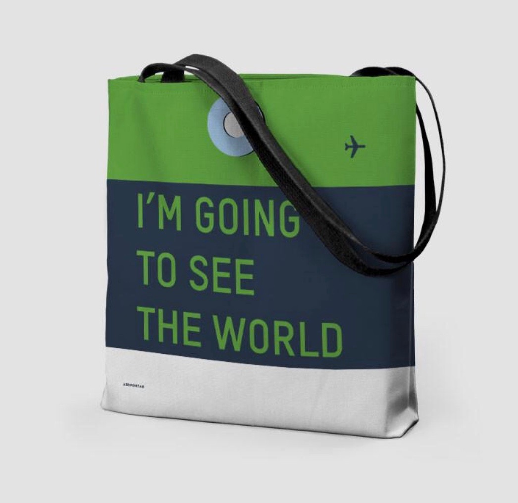 25 travel quotes inspired gifts for the travel lover in your life featured by top international travel blogger, Tracy's Travels in Time: I'M GOING TO SEE THE WORLD tote