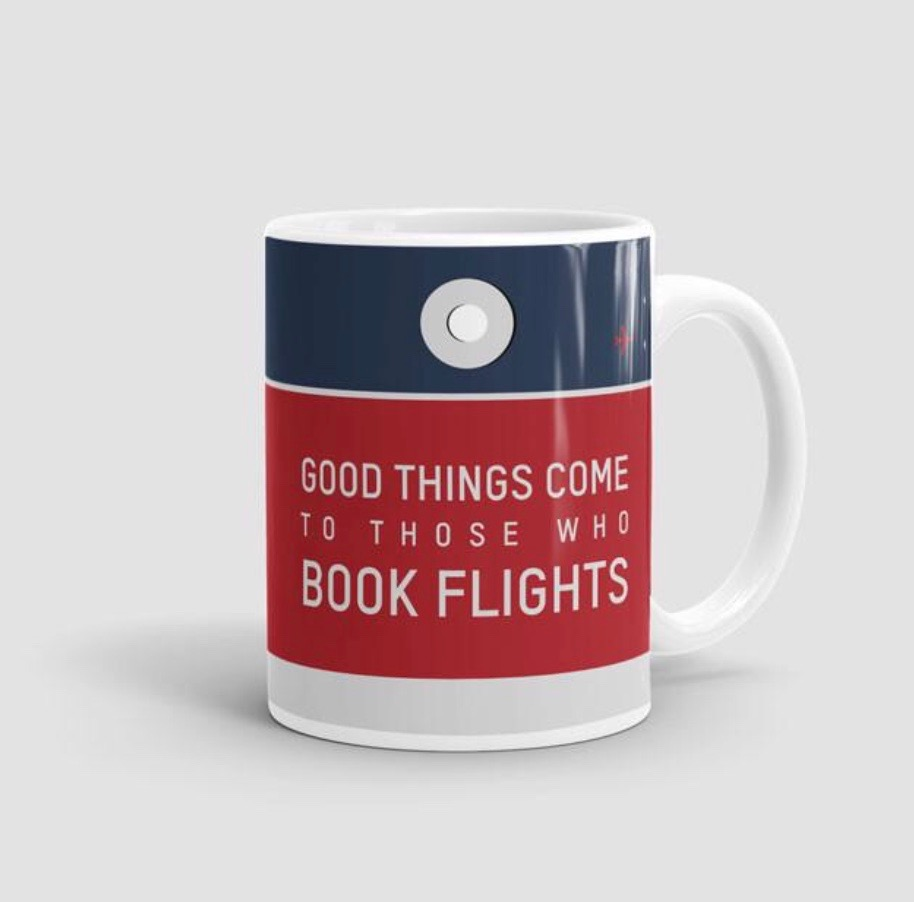 25 travel quotes inspired gifts for the travel lover in your life featured by top international travel blogger, Tracy's Travels in Time: BOOK FLIGHTS MUG