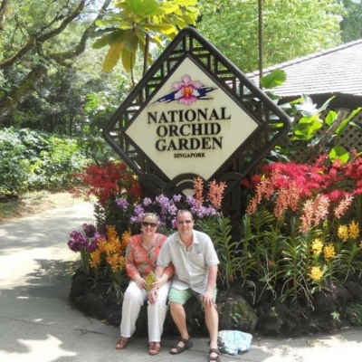 about top international travel and expat blogger, Tracy's Travels in Time: image of Tracy traveling in Singapore