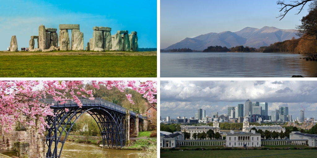 Stonehenge, ironbridge, Greenwich, lake district - great english experiences