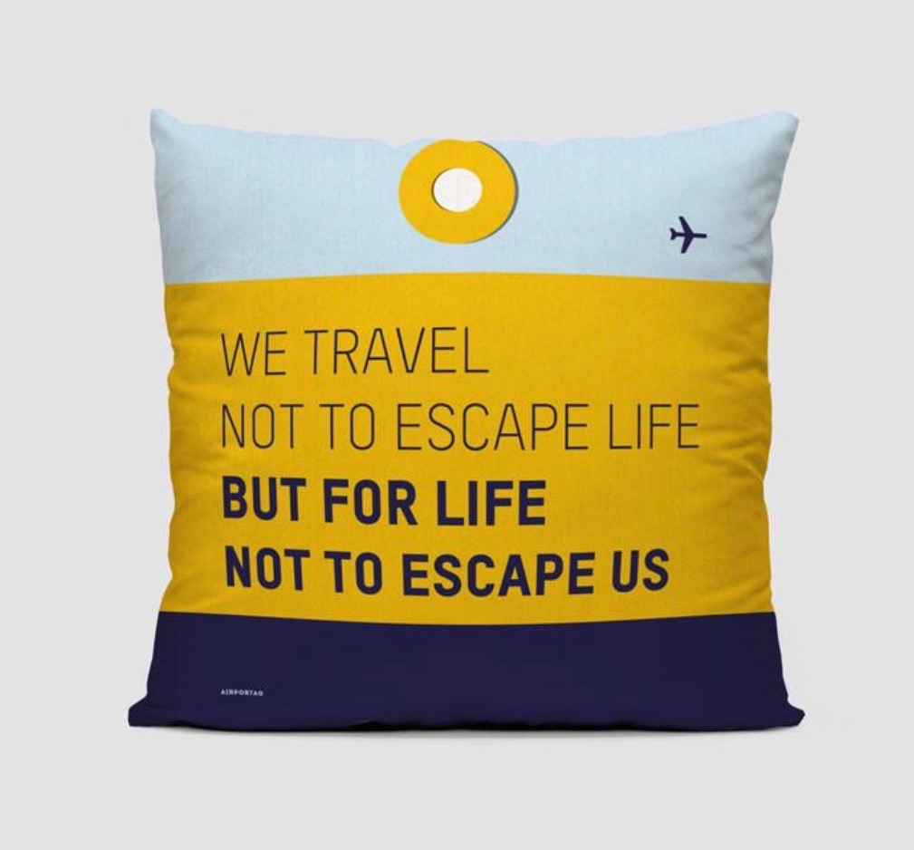 25 travel quotes inspired gifts for the travel lover in your life featured by top international travel blogger, Tracy's Travels in Time: WE TRAVEL cushion