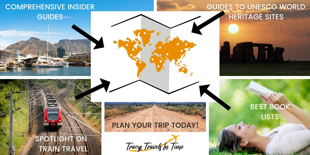 about top international travel and expat blogger, Tracy's Travels in Time: image of the various traveling info you'll find on the blog