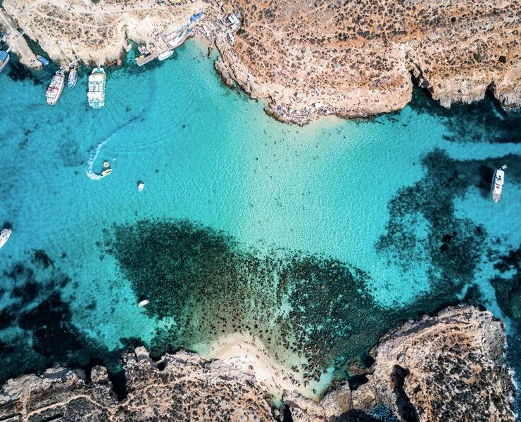 Aerial shot of the Blue Lagoon in malta