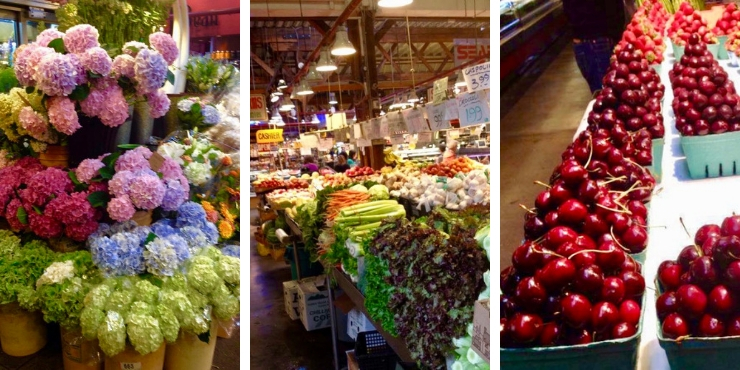 Canadian produce and flowers for sale at Granville Market in Vancouver