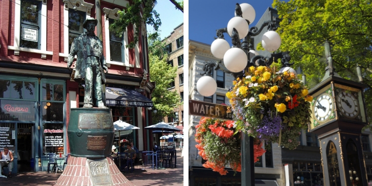 Gassy Jack statue in Vancouver and the steam clock