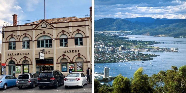 View of Hobart and Salamanca Market