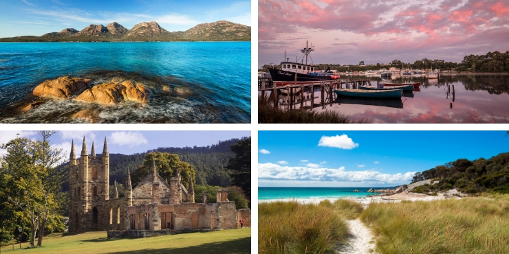 Views of Tasmania - beaches, sea, port arthur and the hazards
