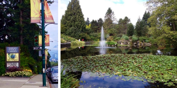 VANDUSEN BOTANICAL GARDEN ENTRANCE AND LAKE IN VANCOUVER CANADA