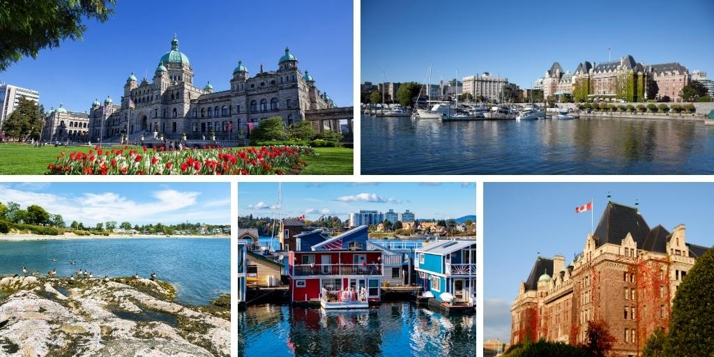 A collage of pictures of things to do in Victoria Canada