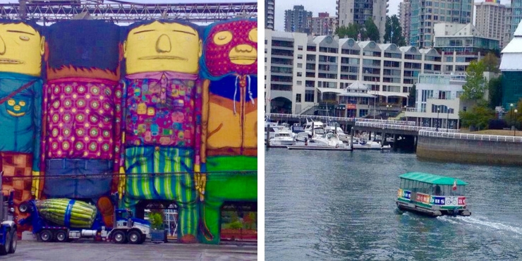 painted silos and the aquabus in Vancouver Canada