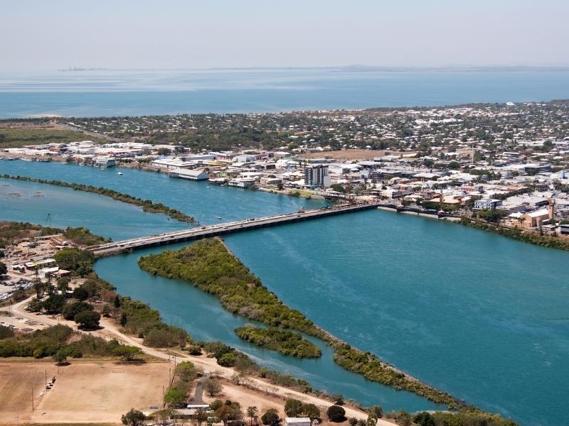 Aerial view of Mackay in Queensland.