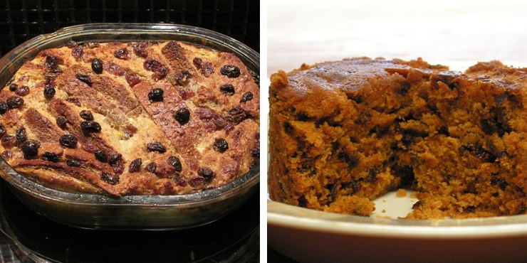 Bread and Butter Pudding and Spotted Dick Pudding