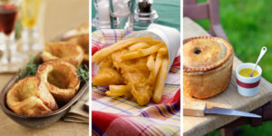 English food - yorkshire pudding, fish and chips and pork pie