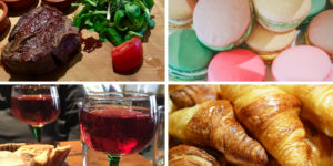 French foods - croissants, macarons and steak