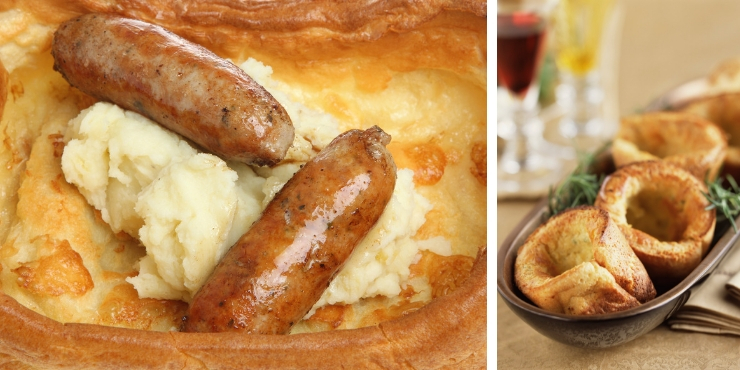 Toad in the hole and Yorkshire Puddings