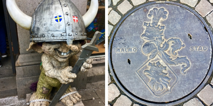 Malmo troll and drain cover with Malmo crest on it