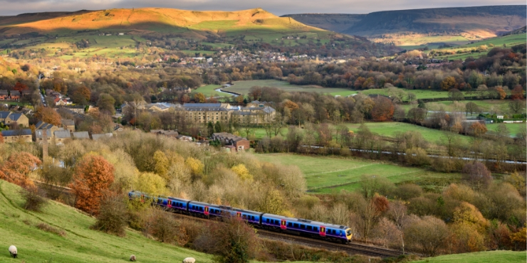 Train traveling across the British countryside