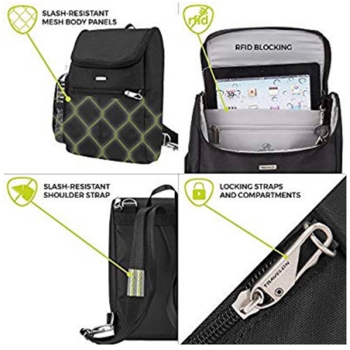 The best anti theft travel bags, a buying guide featured by top international travel blogger, Tracy's Travels in Time: Features of anti-theft bags by Travelon