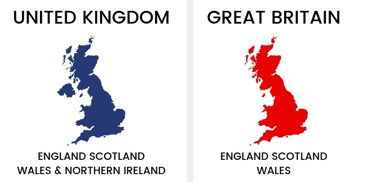 A map of the UK and Great Britain to show the difference