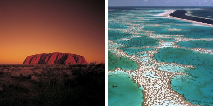 Uluru and the great barrier reef in Australia