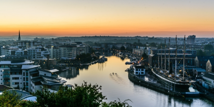 View of Bristol at sunrise