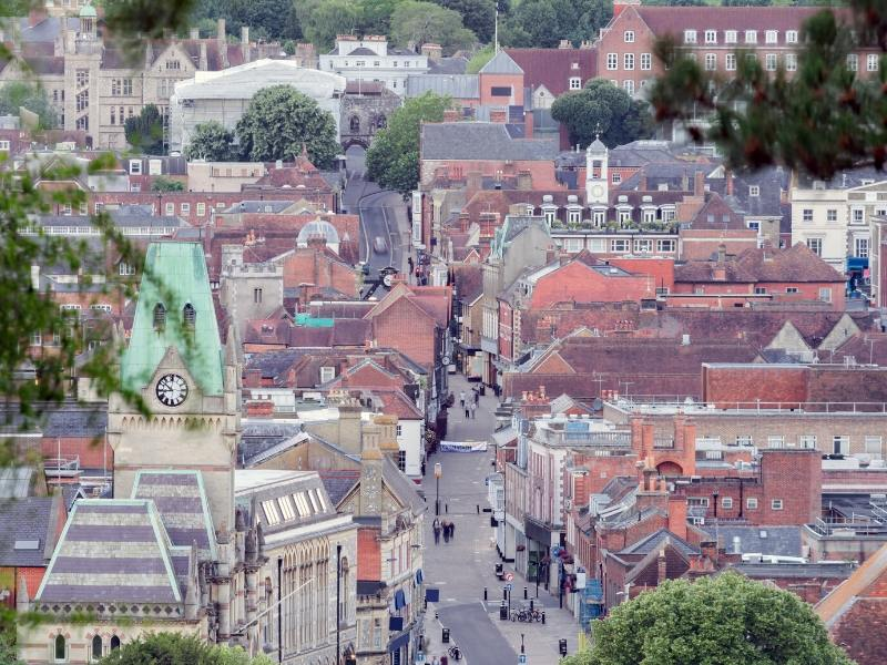 View of Winchester city centre in England which you can visit on easy day trips from London by train