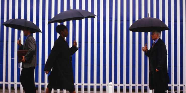 raining and people with umbrellas