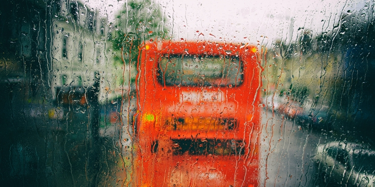 London bus in the rain