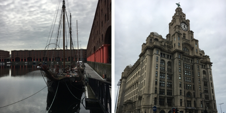 Liverpool docks and the Liver building