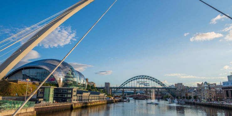 A view from the Millenium Bridge towards the Tyne Bridge in Newcastle