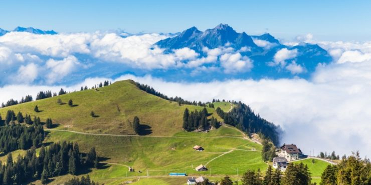 Mount Pilatus through the clouds a view many Mt Pilatus tours offer