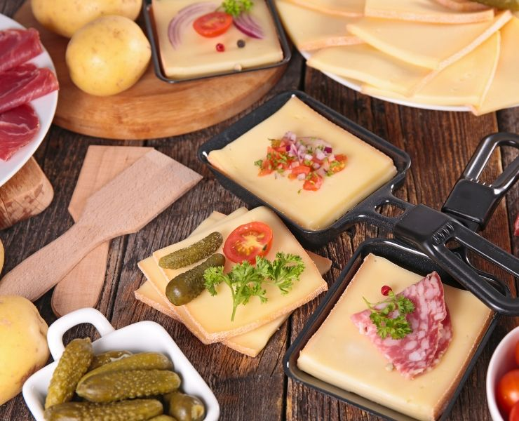 Raclette a traditional Swiss food enjoyed in most of the country
