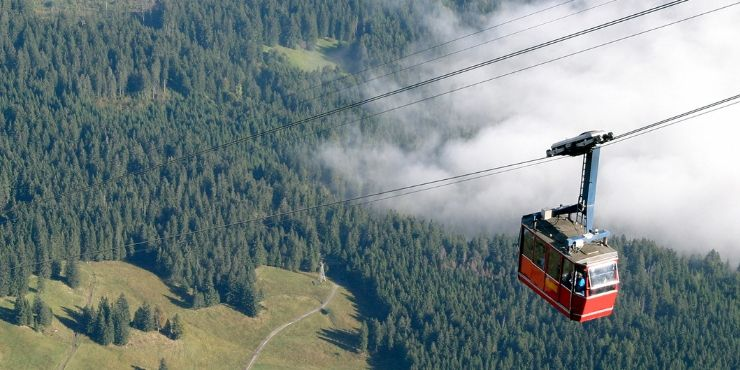 View from the cable car at Mount Pilatus