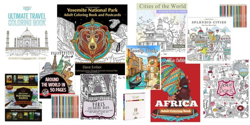 A selection of travel themed coloring books