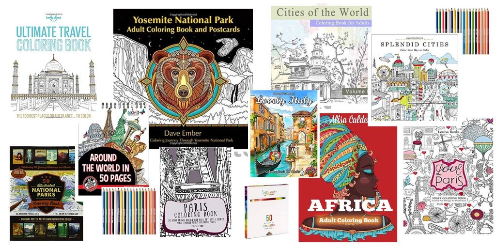 A selection of travel themed coloring books - Travel Coloring Books