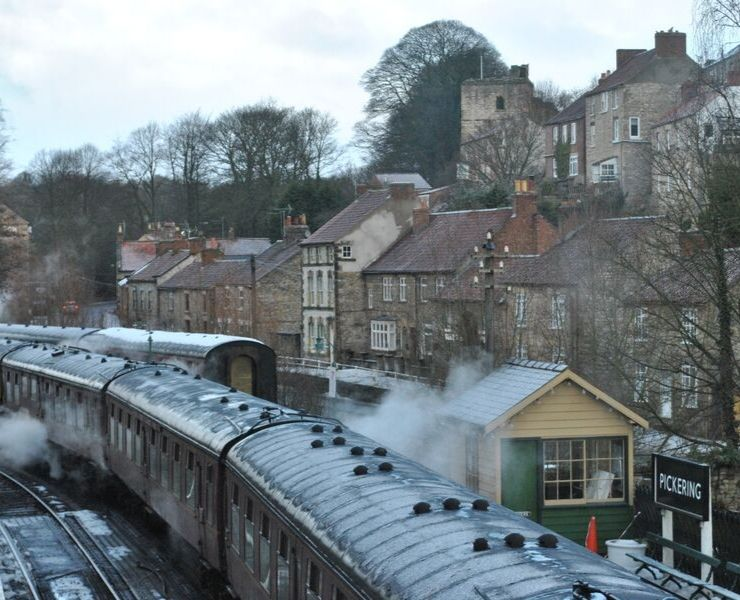 Train pulling into Pickering Train station in Yorkshire