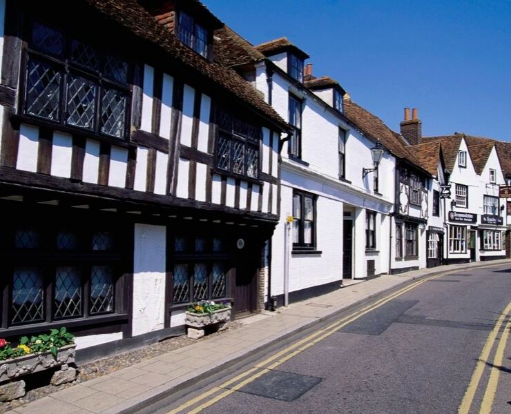 Medieval street in England in one of the prettiest villages in England