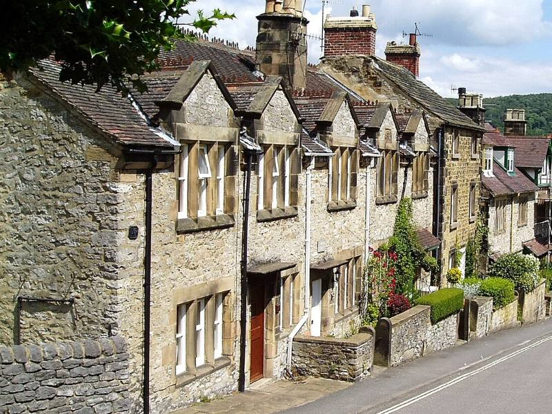 A row of stone houses in Bakewell England.