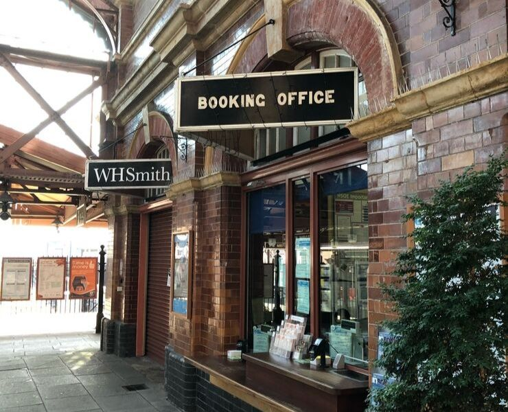 A booking office in a train station in the UK