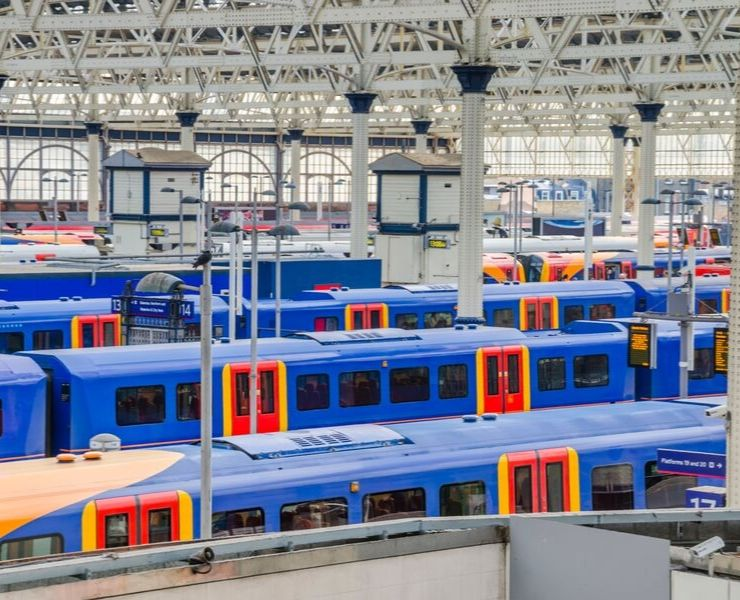 Lots of trains at Waterloo Train Station in London
