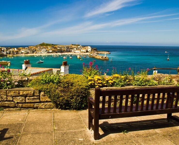 View of St Ives harbour one of the prettiest villages in England.