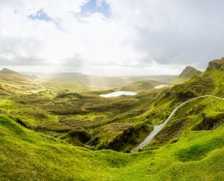 view of the green hills on the isle of skye