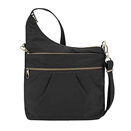 Travelon: Anti-Theft Signature 3 Compartment Nylon Crossbody Bag - Black