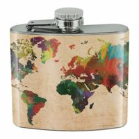 Rainbow Map of the World Hip Flask