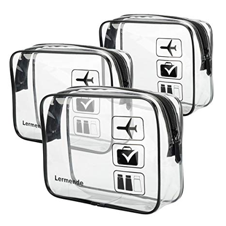 3pcs TSA Approved Toiletry Bag with Zipper