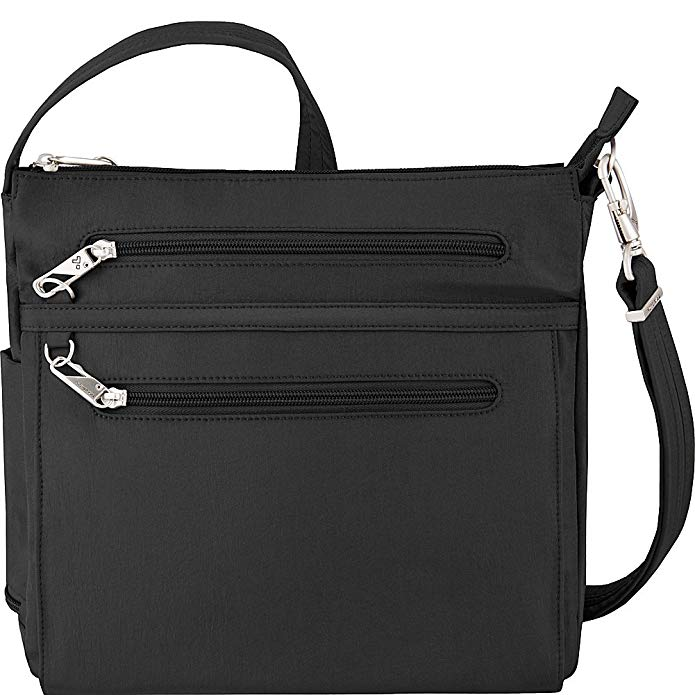 Travelon Anti-Theft Essential North/South Bag - Small Nylon Crossbody for Travel & Everyday - (Black/Dusty Rose Interior)