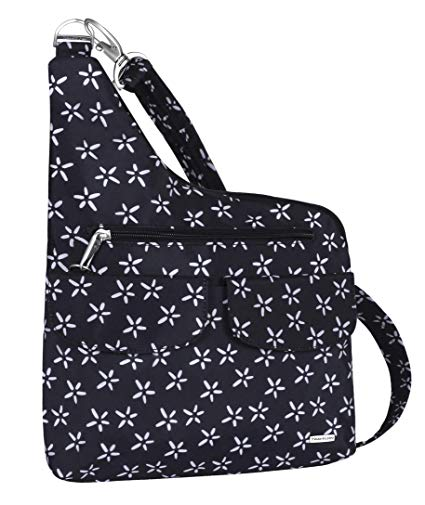 Travelon Anti-Theft Cross-Body Bag, Two Pocket (A B/W SMALL FLOWER PRINT)