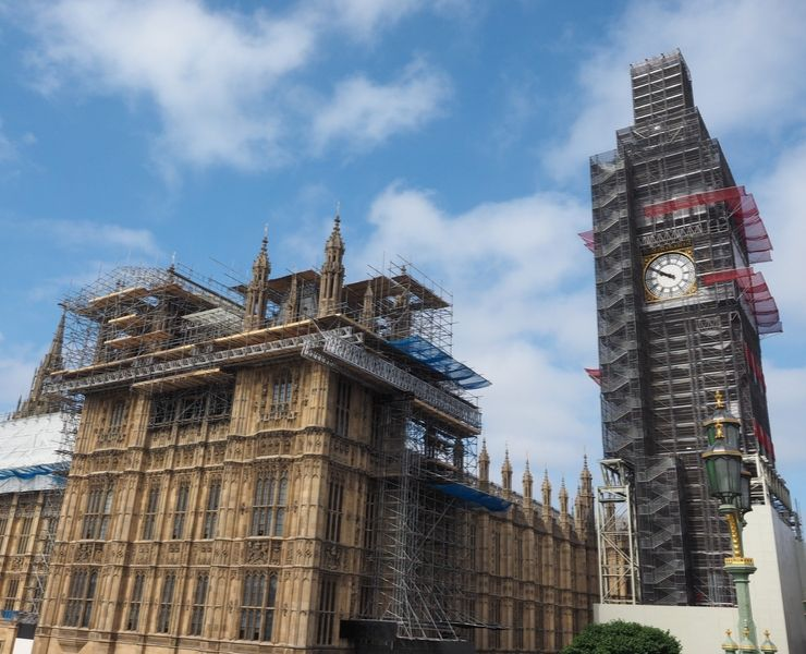 Big Ben covered in scaffolding